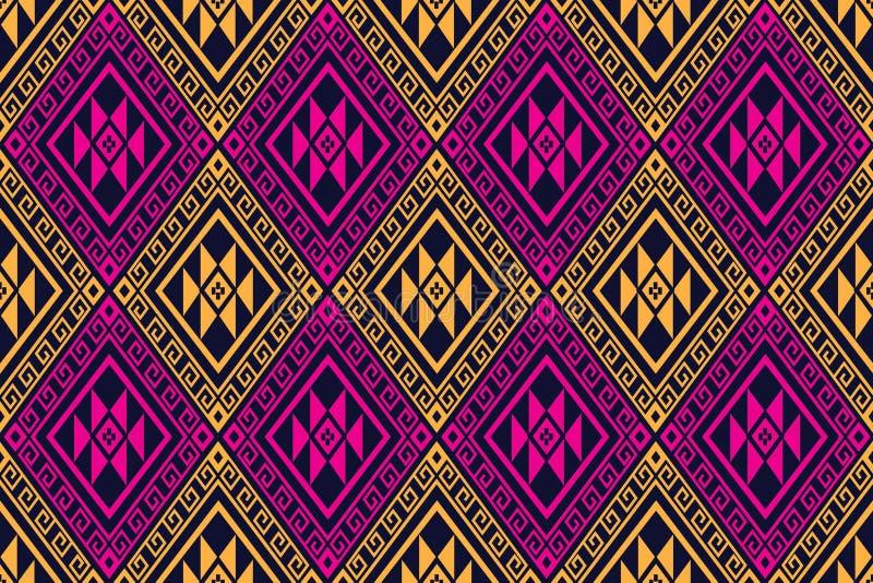 Projeto tradicional do teste padrão étnico geométrico para o fundo, tapete, papel de parede, roupa, envolvendo, Batik, tela, saro ilustração royalty free
