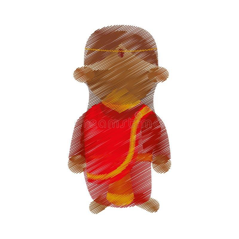 Projeto tradicional do traje da mulher indiana dos desenhos animados ilustração royalty free