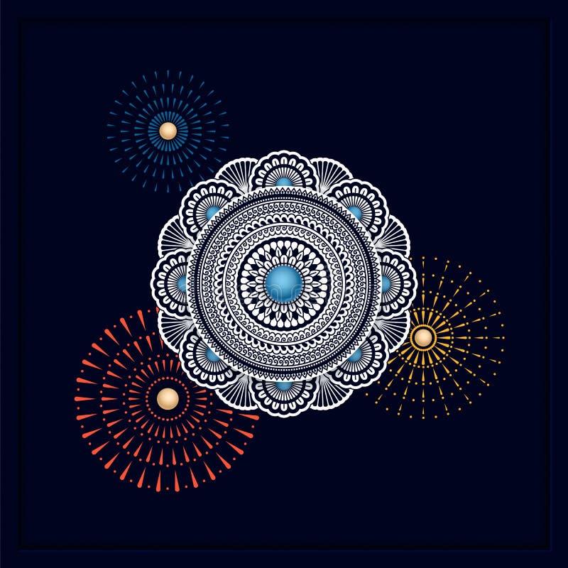 Projeto tradicional indiano da mandala no fundo escuro molde para fundos, cartões, vales-oferta, empacotando ilustração stock
