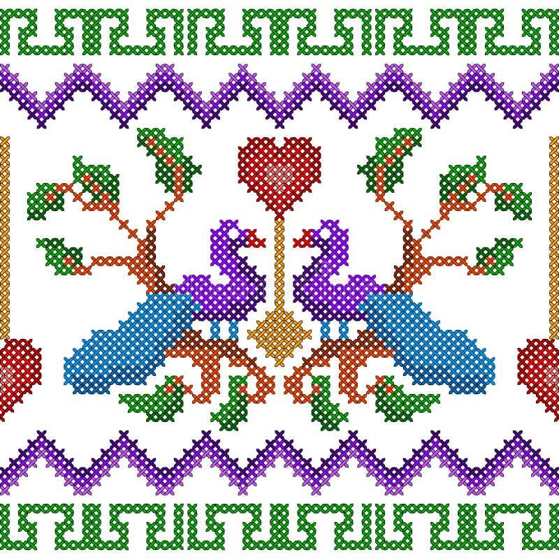Projeto transversal do pavão do bordado do ponto para a textura sem emenda do teste padrão ilustração do vetor