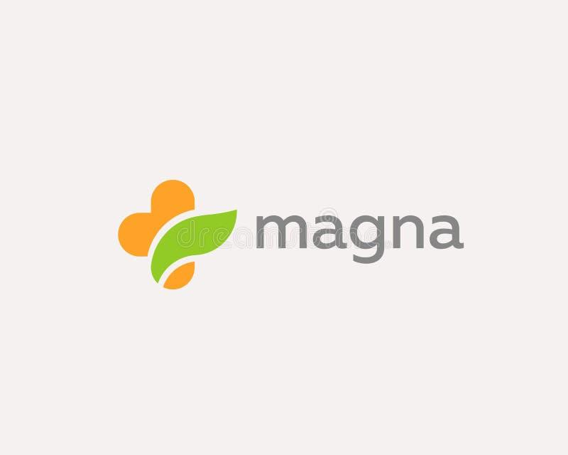 Projeto transversal médico do logotipo da folha Logotype do vetor do cuidado da cor ilustração royalty free