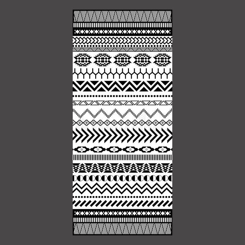 Projeto tribal preto e branco de toalha do bordado ilustração royalty free