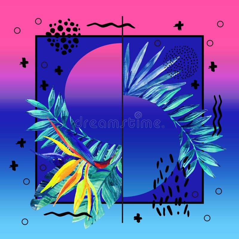 Projeto tropical abstrato do cartaz do verão no estilo mínimo ilustração royalty free