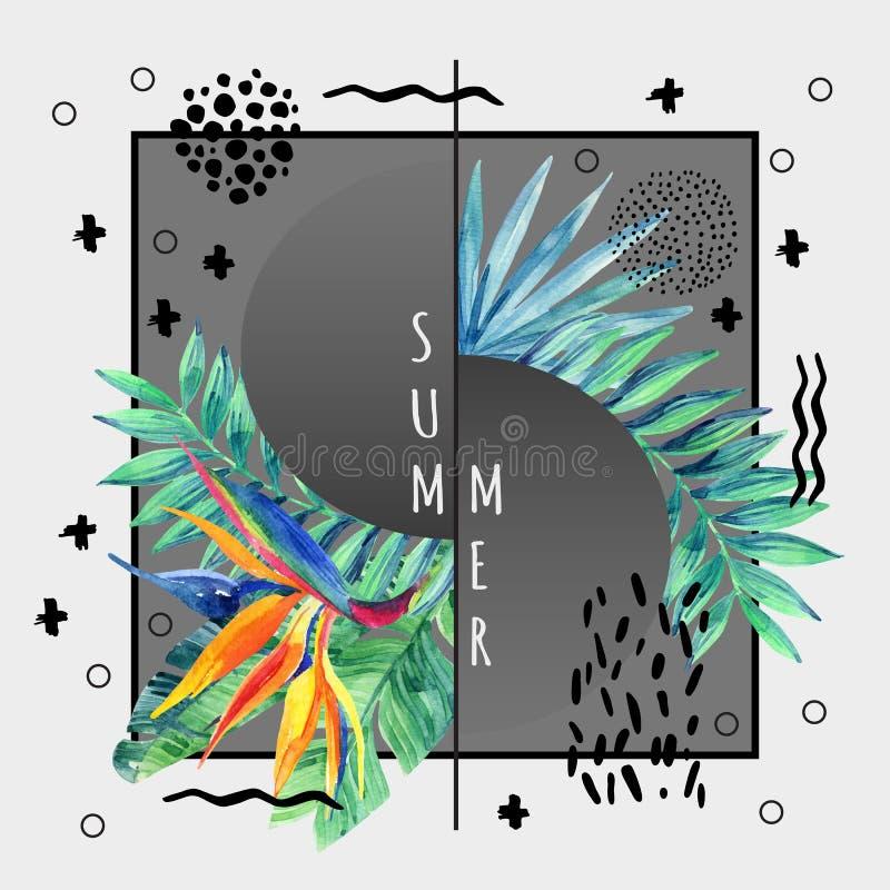 Projeto tropical abstrato do cartaz do verão no estilo mínimo ilustração do vetor