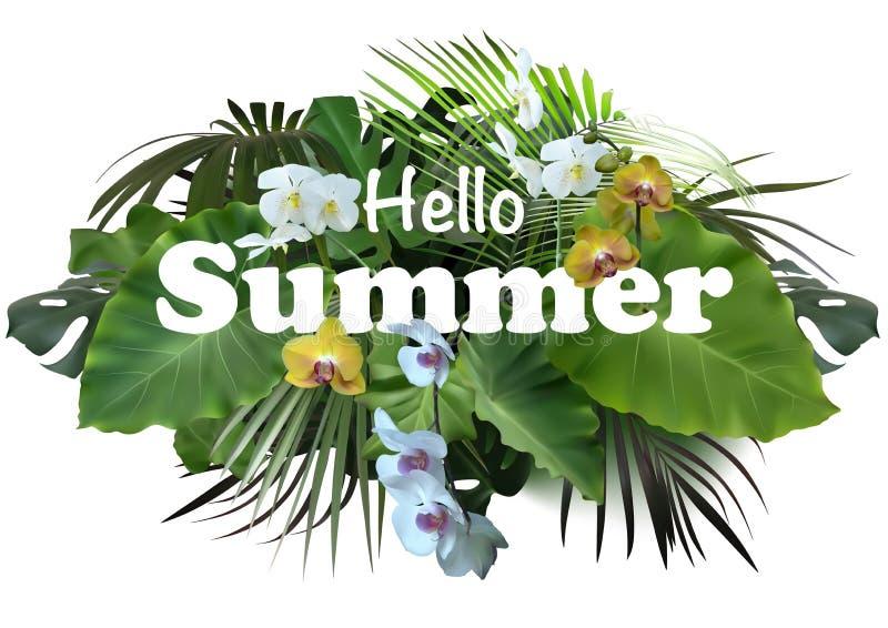 Projeto tropical da bandeira ou do inseto do verão ilustração stock