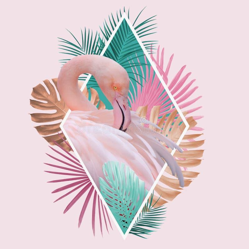 Projeto tropical do flamingo das folhas na luz - rosa, turquesa e cores douradas ilustração do vetor