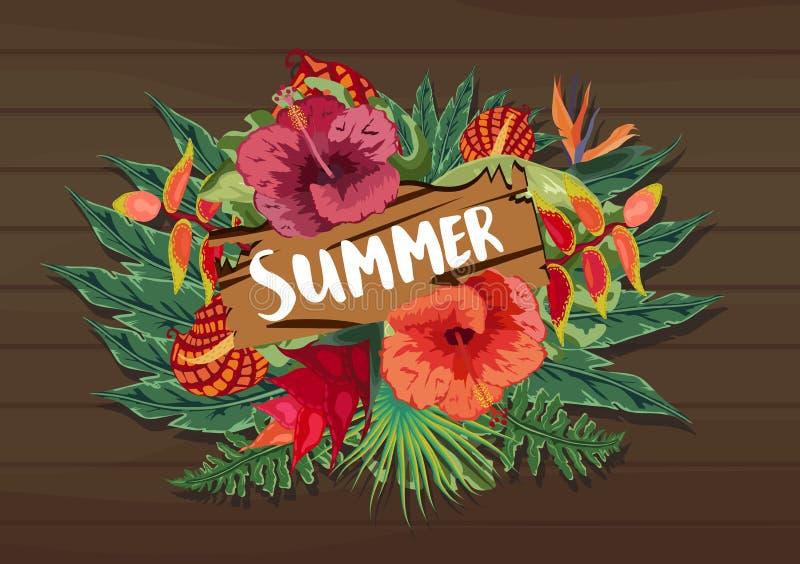 Projeto tropical do verão para a bandeira ou o inseto com folhas de palmeira, as flores do hibiscus e handlettering exóticos ilustração do vetor