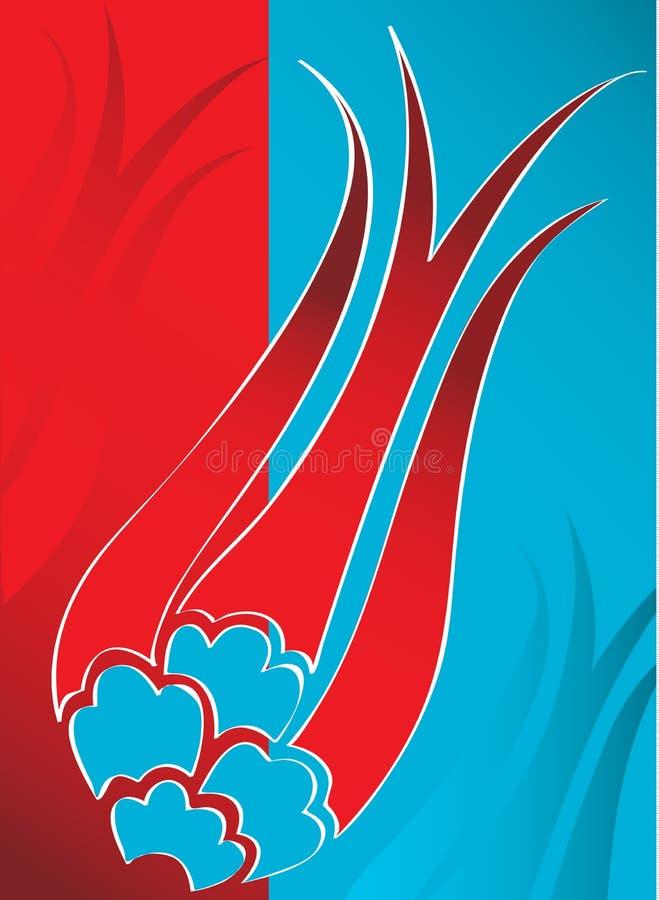 Projeto turco do tulip do otomano tradicional elegante ilustração stock