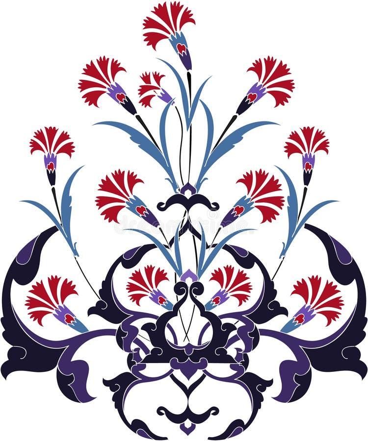 Projeto turco do tulip do peru tradicional do otomano ilustração stock