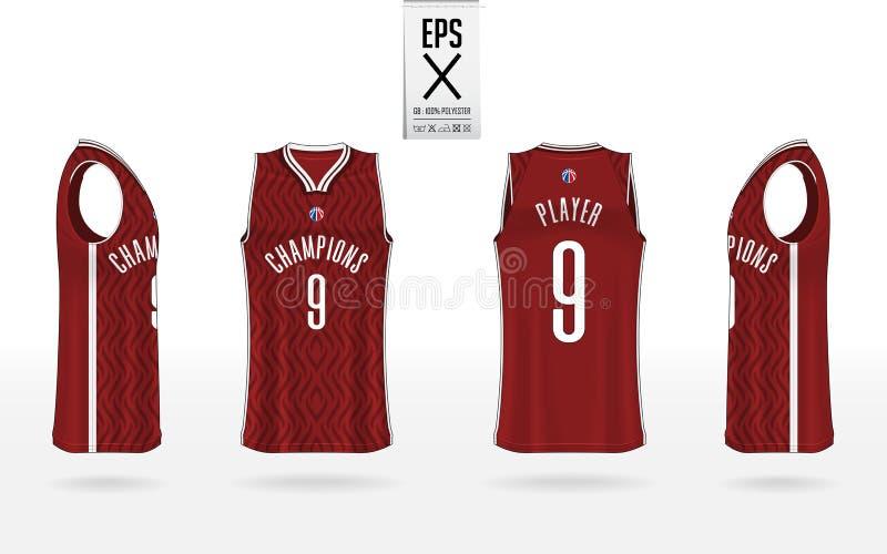 Projeto uniforme do molde do modelo do basquetebol para o clube do basquetebol Modelo do t-shirt da camiseta de al?as para o j?rs ilustração do vetor