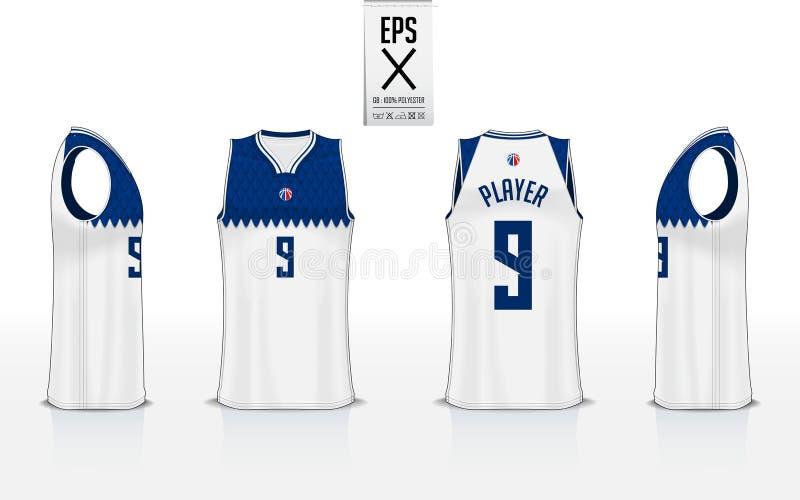 Projeto uniforme do molde do modelo do basquetebol para o clube do basquetebol Modelo do t-shirt da camiseta de al?as para o j?rs ilustração royalty free