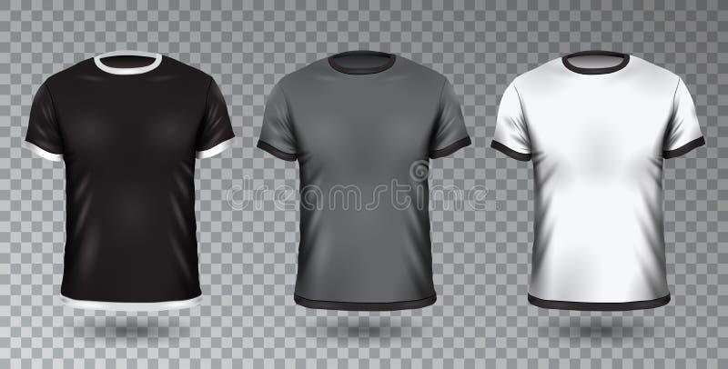 Projeto unisex realístico Tempale da camisa no fundo transparente, no modelo do preto da placa do vetor, do cinza e o branco do t ilustração do vetor