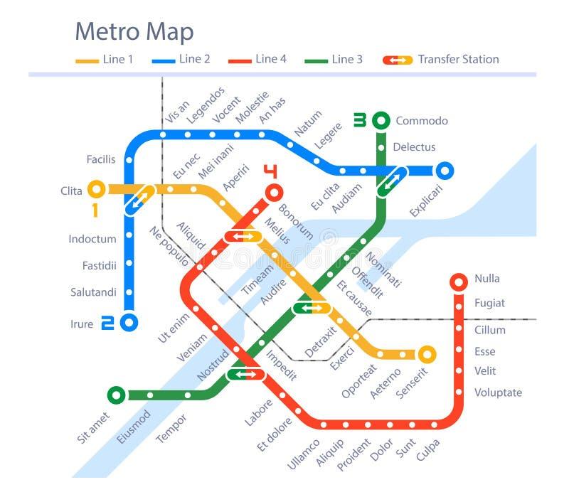 Projeto urbano da cor do metro do mapa imaginário do metro ilustração royalty free