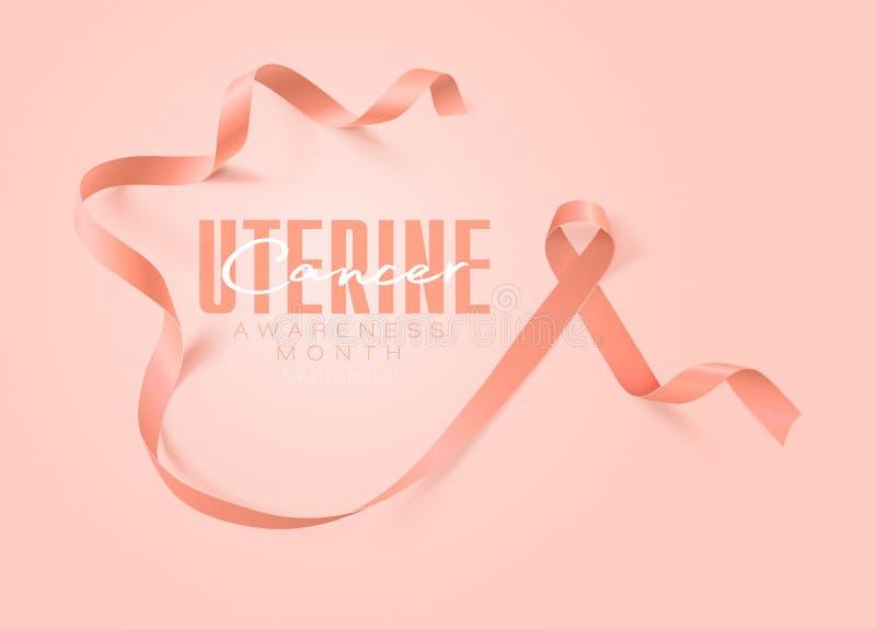 Projeto uterina do cartaz da caligrafia da conscientização do câncer Fita realística do pêssego setembro é mês da conscientização ilustração royalty free