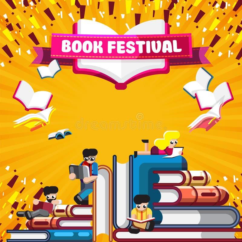 Projeto vívido do cartaz para o festival do livro ilustração stock