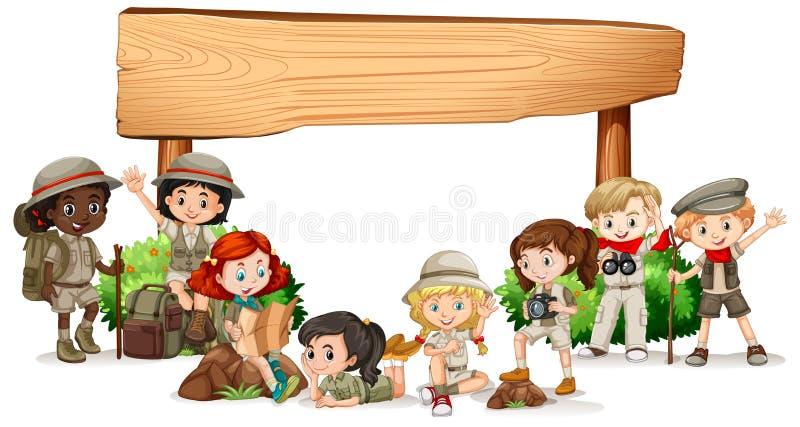 Projeto vazio da bandeira com crianças felizes ilustração stock