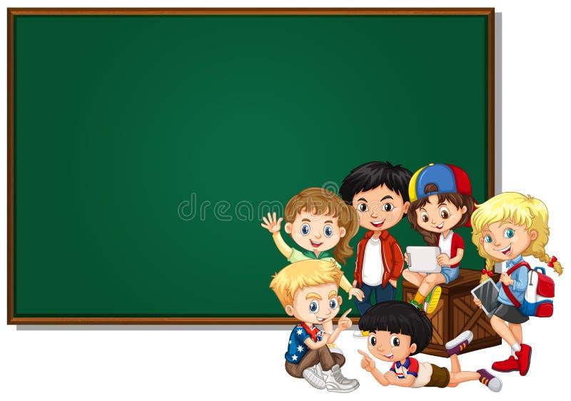 Projeto vazio da bandeira com crianças felizes ilustração do vetor