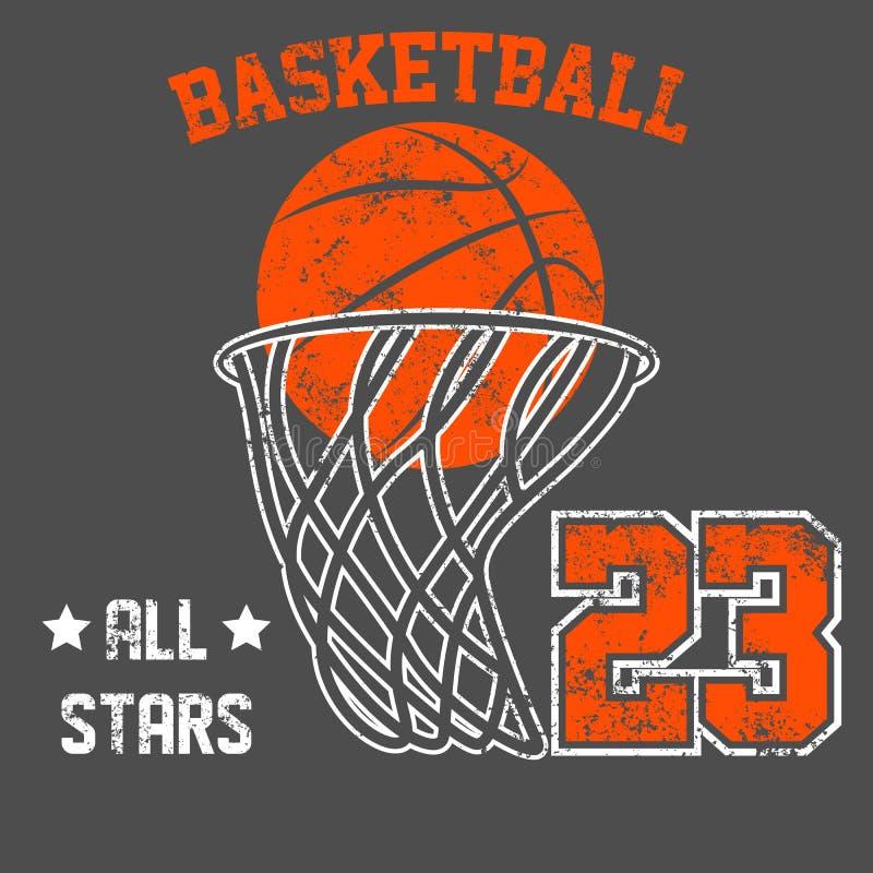 Projeto velho americano do vetor da cópia do T do efeito do grunge do vintage Conceito retro do logotipo do basquetebol superior  ilustração stock