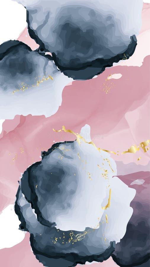 Projeto velho da tinta do álcool da textura do ouro pastel do rosa da marinha O fundo chique da aquarela na moda fez no vetor par ilustração do vetor