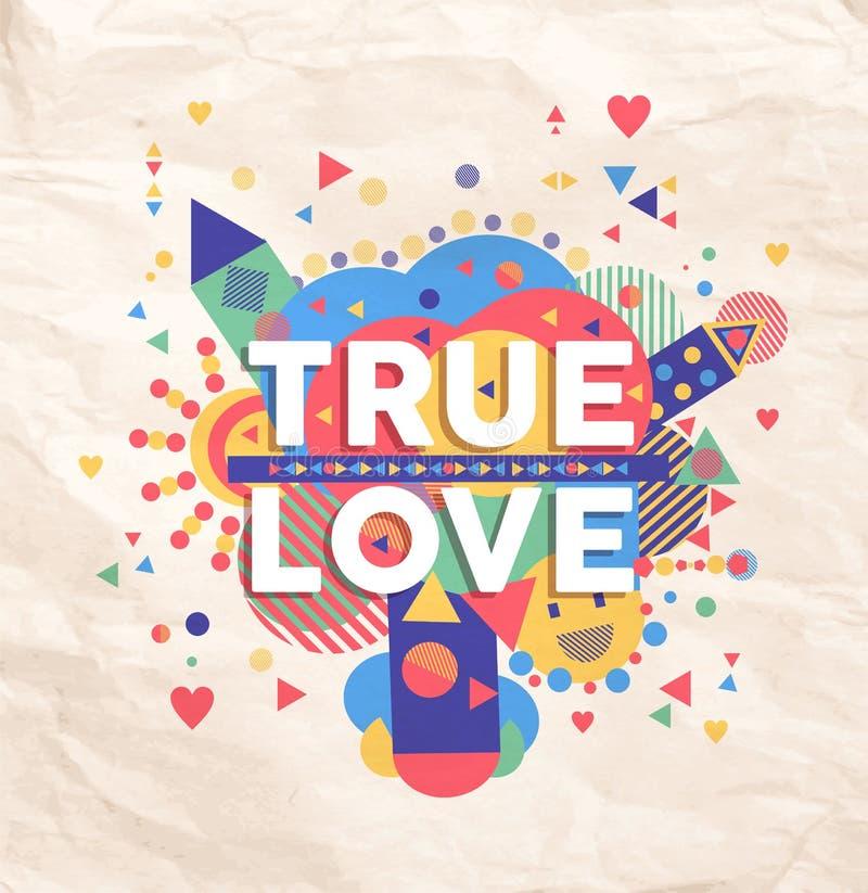 Projeto verdadeiro do cartaz das citações do amor ilustração royalty free