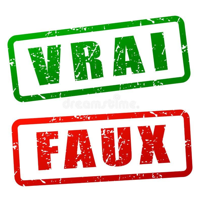 Projeto verdadeiro e falso do selo ilustração royalty free