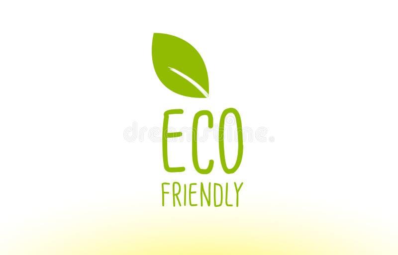 projeto verde amigável do ícone do logotipo do conceito do texto da folha do eco ilustração royalty free