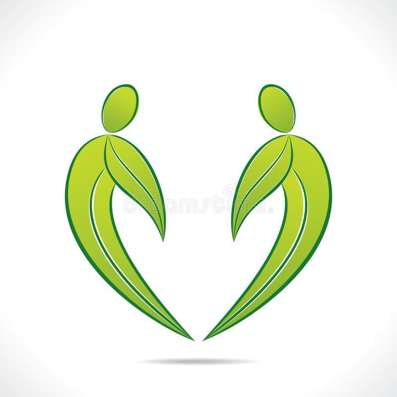 Projeto verde criativo do símbolo dos povos com folha verde ilustração do vetor