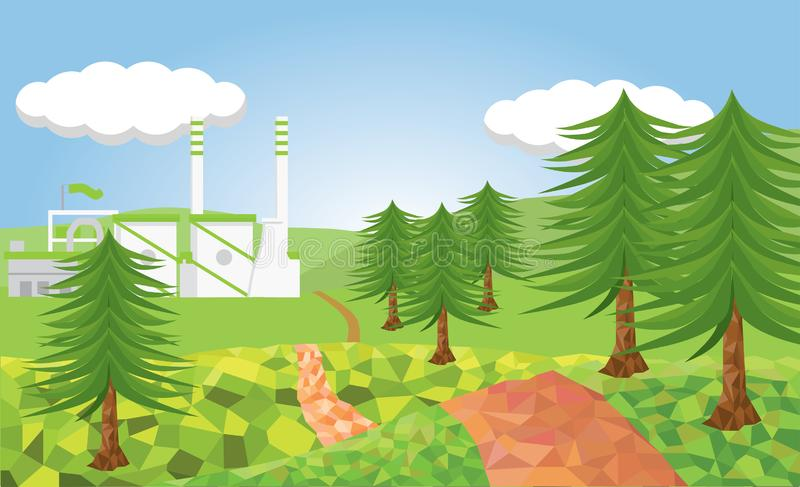 Projeto verde da fábrica com natureza fotografia de stock royalty free