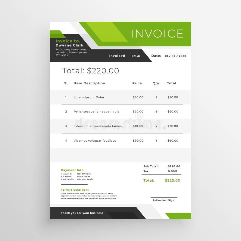 Projeto verde do molde da fatura do negócio ilustração do vetor