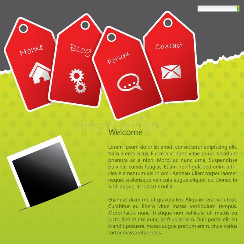 Projeto verde do molde do Web site com etiquetas vermelhas ilustração royalty free