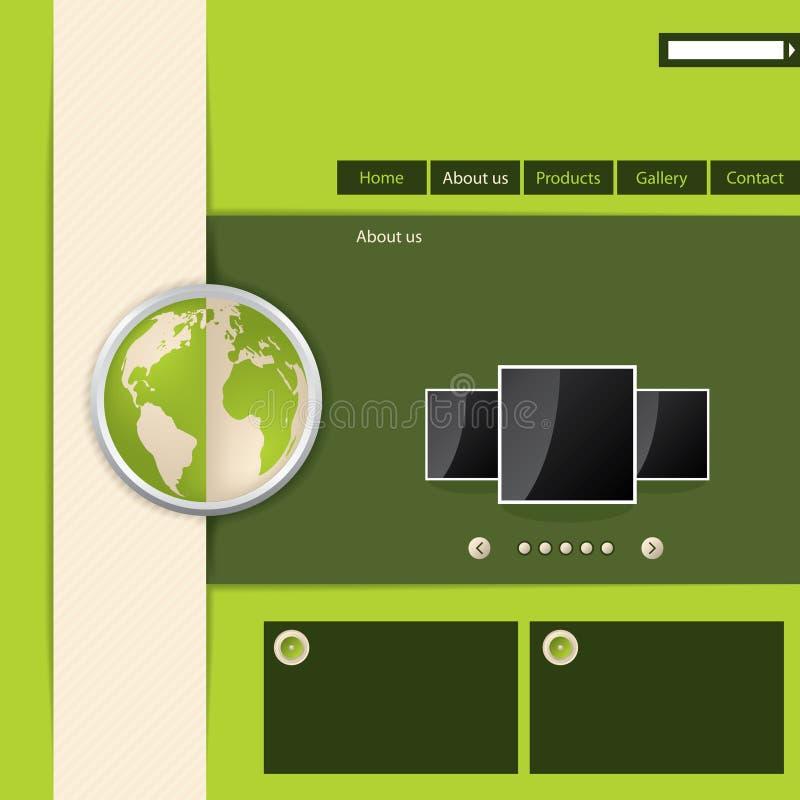 Projeto verde do molde do Web site ilustração royalty free