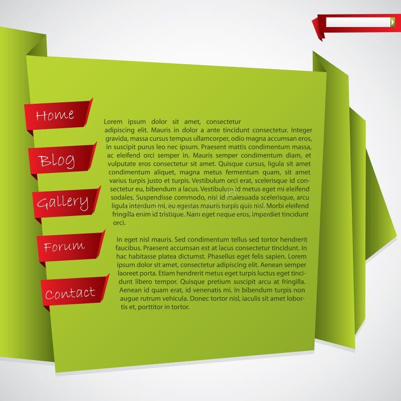 Projeto verde do molde do Web site do origami ilustração do vetor