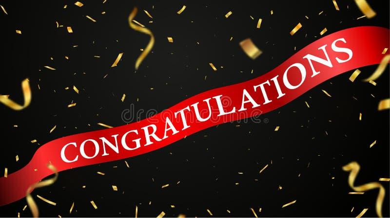 Projeto vermelho da celebração da fita das felicitações com confetes dourados ilustração royalty free