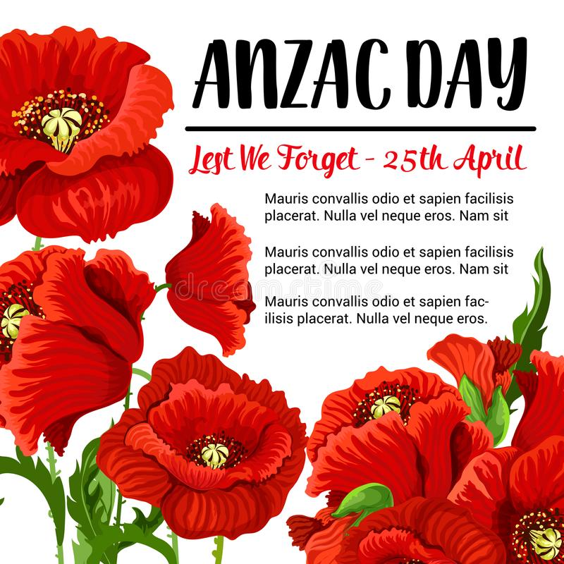 Projeto vermelho da papoila do cartão da relembrança do vetor de Anzac Day ilustração stock