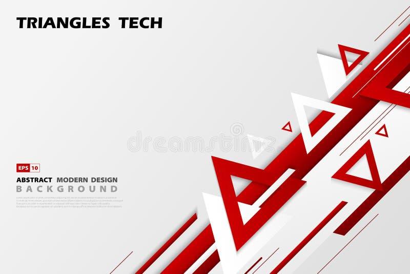 Projeto vermelho da sobreposição da tecnologia dos triângulos do inclinação do sumário do estilo futurista do teste padrão Vetor  ilustração royalty free