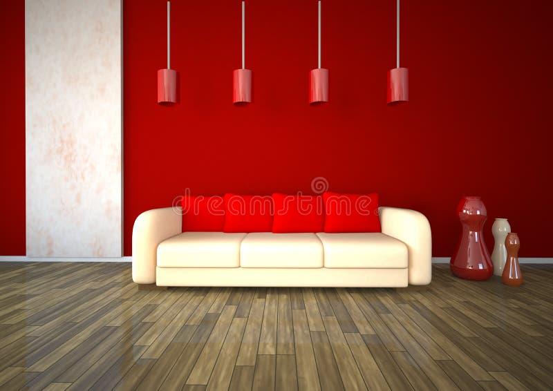 Projeto vermelho de mármore branco da sala ilustração royalty free