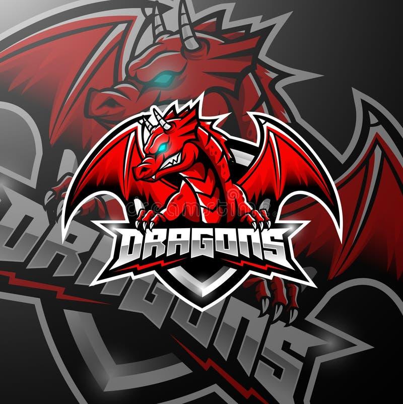 Projeto vermelho do logotipo dos esports do dragão ilustração stock