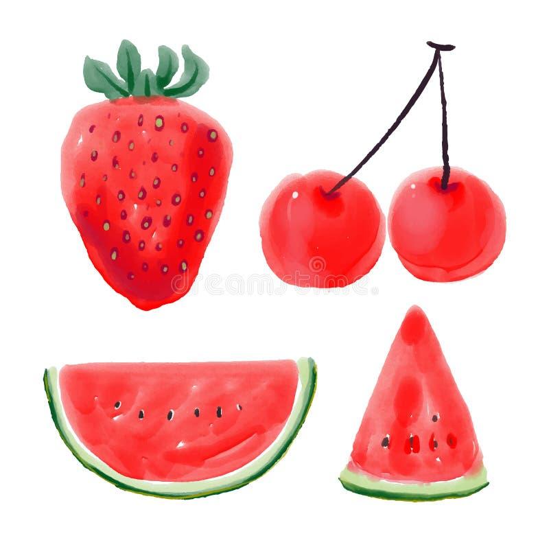 Projeto vermelho do vetor do fruto fotos de stock royalty free