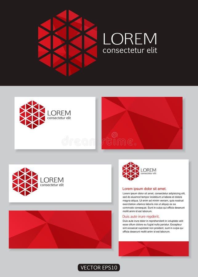 Projeto vermelho geométrico do ícone do logotipo com cartões ilustração stock