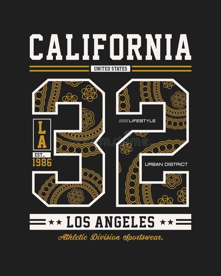 Projeto vetor do gráfico do t-shirt de Los Angeles da tipografia, Califórnia ilustração stock