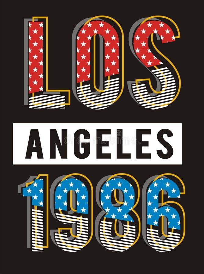 Projeto 1986, vetor retro da tipografia de Los Angeles ilustração royalty free