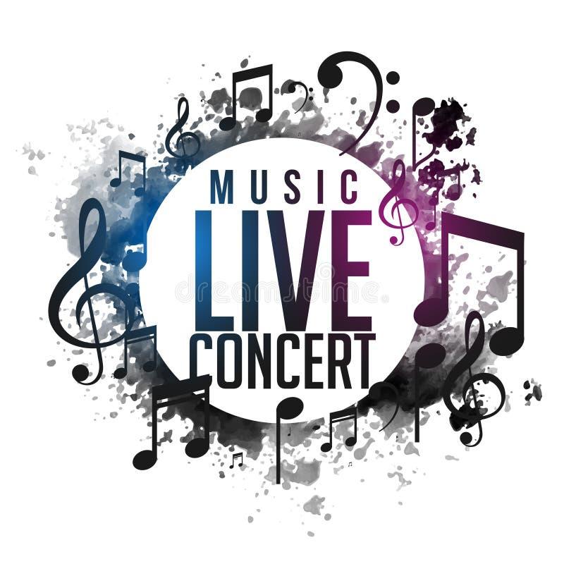 Projeto vivo do cartaz do concerto da música abstrata do grunge ilustração royalty free