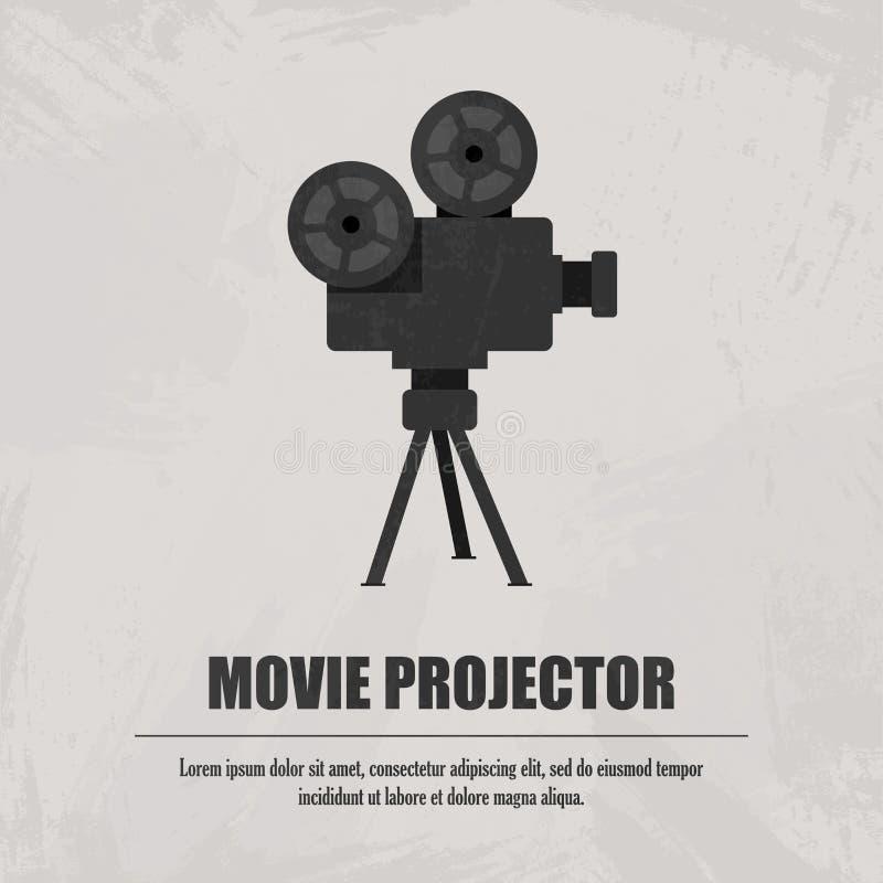 Projetor de filme cinzento no fundo claro ilustração royalty free