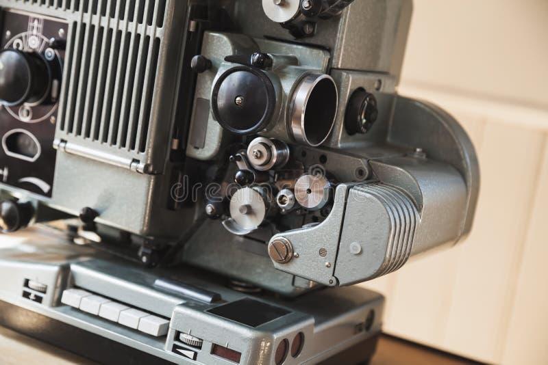 Projetor de filme do vintage, fim acima da foto imagem de stock
