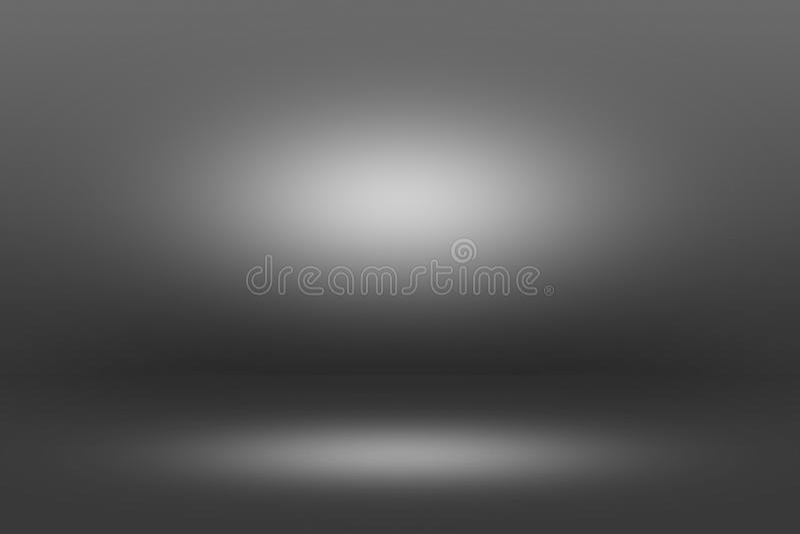 Projetor de Showscase do produto no fundo preto - assoalho claro da obscuridade do horizonte infinito fotografia de stock royalty free