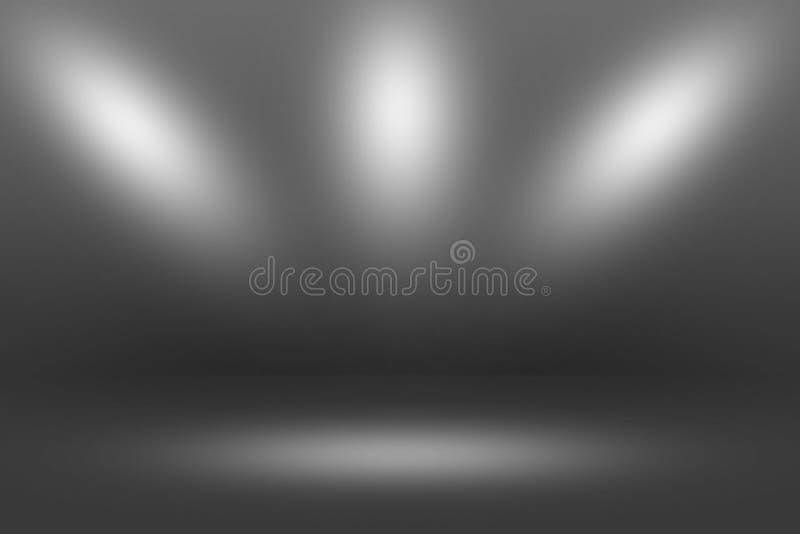 Projetor de Showscase do produto no fundo preto - assoalho claro da obscuridade do horizonte infinito foto de stock