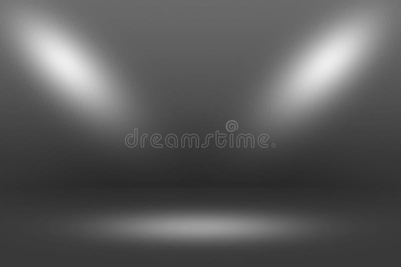 Projetor de Showscase do produto no fundo preto - assoalho claro da obscuridade do horizonte infinito imagens de stock royalty free