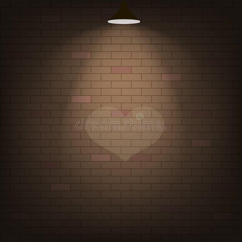 Projetor do coração em uma parede de tijolo Vetor ilustração royalty free