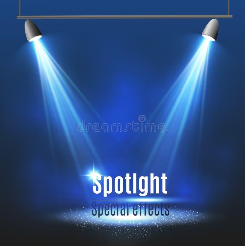 Projetor do vetor Efeito da luz Iluminação da cena, efeitos transparentes em um fundo da obscuridade da manta ilustração royalty free