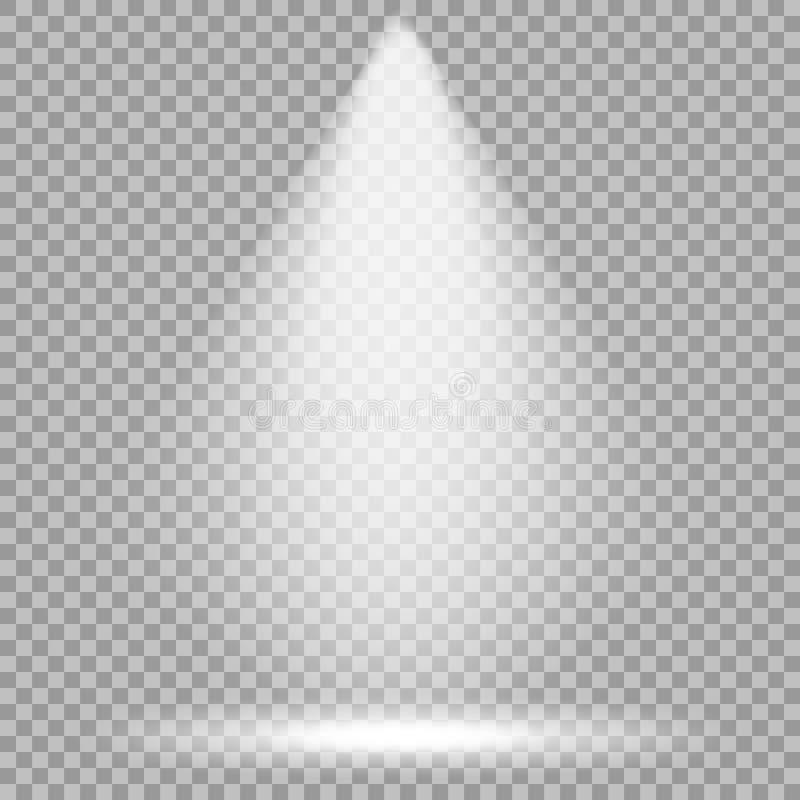 Projetor do vetor Feixe luminoso brilhante Efeito real?stico transparente Encene a ilumina??o ilustração royalty free